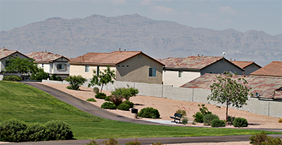 Suburban homes with mountain in the background